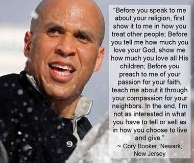 About Religion per Cory Booker NJ Senator